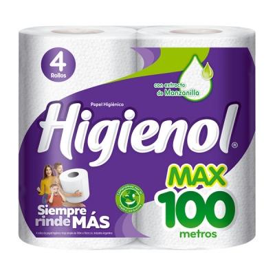 Papel Higienico Higienol Max 100mts (pack 4)  Bolson X 40 Rollos