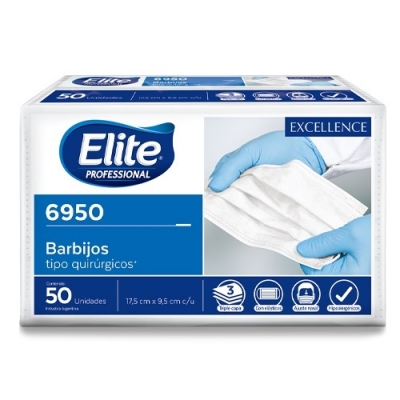 Barbijos Elitex50 (6950) T/quirurjico Tricapa - Ajuste Nasal Eficacia De Filtracion Bacteriana Bfe 95,5% - Certificacion Anmat