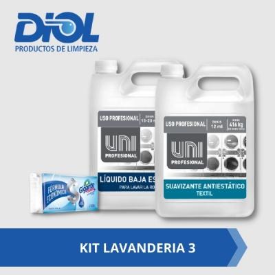 Kit Lavanderia 3: Unipro Jabon Baja Espuma X 5 Litros + Unipro Suavisante 5 Litros  Gratis Jabon Blanco Gigante 120gs