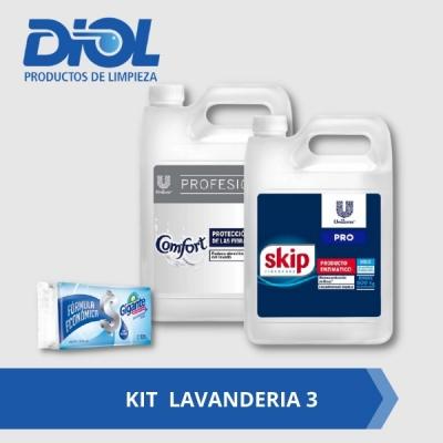Kit Lavanderia 3: Skip Baja Espuma X 5 Litros + Comfort Suavisante 5 Litros  Gratis Jabon Blanco Gigante 120gs