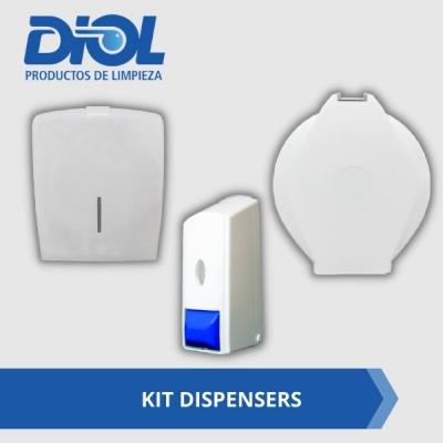 Kit Dispensers 3 Piezas Promocion Diol - 1 Dispenser Toallas Inercaladas + 1 Dispenser Papel Higienico Jumbo + 1 Dispenser Jabon Liquido.